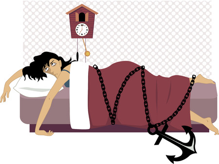 Illustration for Tired woman lying in her bed early in the morning chained to a heavy anchor vector illustration  - Royalty Free Image