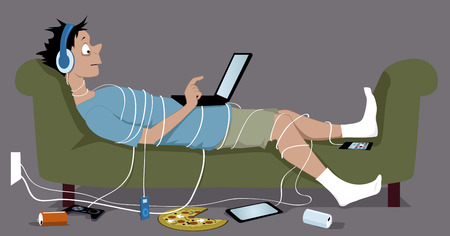 Ilustración de Young guy addicted to internet lying on a couch tangled up in cables from his many gadgets a laptop sitting on his stomach pizza and empty soda cans lying on the floor vector illustration no transparencies EPS 8 - Imagen libre de derechos