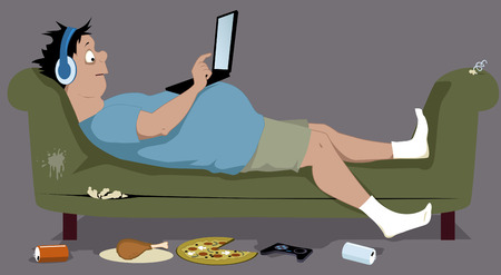 Ilustración de Overweight teenager lying on a dirty torn couch with a laptop sitting on his stomach junk food lying on the floor vector illustration no transparencies EPS 8 - Imagen libre de derechos