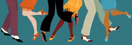 Ilustración de Line of men and women legs in 1920s style footwear dancing the Charleston vector illustration no transparencies EPS 8 - Imagen libre de derechos