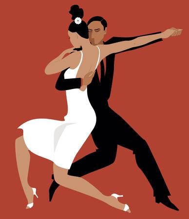 Illustration pour Sexy Hispanic couple dancing Argentine tango vector illustration no transparencies EPS 8 - image libre de droit