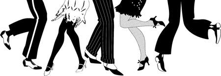 Ilustración de Line of men and women legs in 1920s style footwear dancing the Charleston black vector silhouette no white objects EPS 8 - Imagen libre de derechos