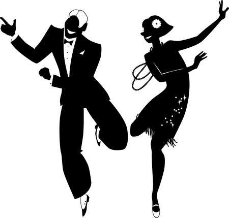 Illustration for Black vector silhouette of a couple dressed in 1920s fashion dancing the Charleston no white objects EPS 8 - Royalty Free Image