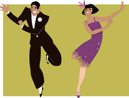 Illustration for Young couple dressed in 1920s fashion dancing the Charleston - Royalty Free Image