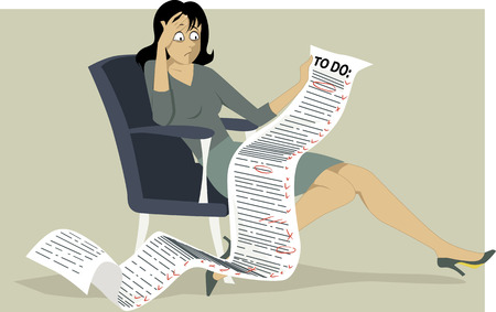 Illustrazione per Frustrated woman sitting in a chair holding a comically long to do list Vector illustration no transparencies EPS 8 - Immagini Royalty Free