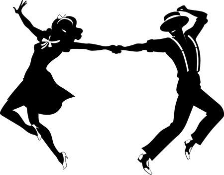 Ilustración de Black vector silhouette of a couple dancing swing or tap dance no white objects EPS 8 - Imagen libre de derechos