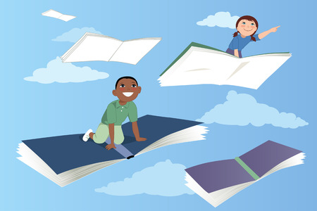 Illustration pour Little kids flying on books in the sky vector illustration EPS 8 - image libre de droit