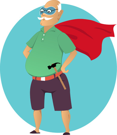 Illustration for Cartoon old man in a mask and a superhero cape with a hammer no transparencies EPS 8 - Royalty Free Image