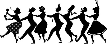 Ilustración de Black vector silhouette of group of people dressed in late 1950s early 1960s fashion dancing conga line no white objects EPS 8 - Imagen libre de derechos