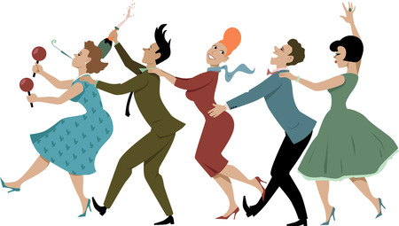 Ilustración de Group of people dressed in late 1950s early 1960s fashion dancing conga with maracas party whistle and a bottle of campaign vector illustration no transparencies EPS 8 - Imagen libre de derechos