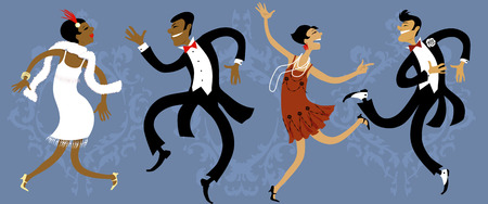 Illustration for Two couples dressed in 1920s style dancing the Charleston, vector illustration, EPS 8 - Royalty Free Image