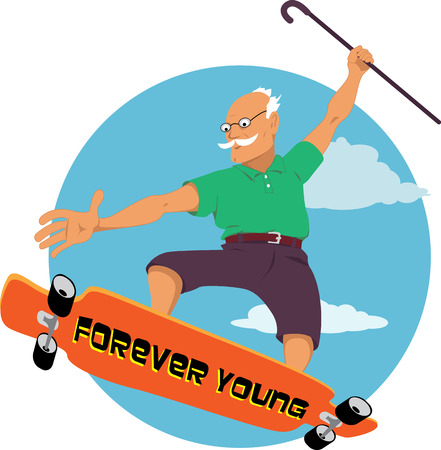 Illustration for Elderly man with a walking can riding a longboard or skateboard, vector cartoon, no transparencies, EPS 8 - Royalty Free Image