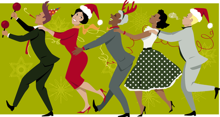 Ilustración de Diverse group of people dressed in vintage fashion and Christmas hats dancing Conga line, snowflakes and streamers on the background, EPS 8 - Imagen libre de derechos