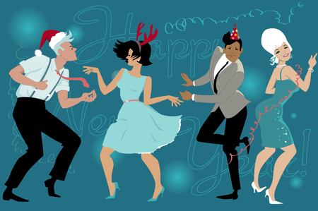 Illustration pour Group of young people dressed vintage fashion dancing celebrating New Year in the club, vector illustration, no transparencies, no mesh - image libre de droit