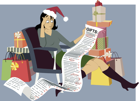 Illustrazione per Exhausted woman in a Santa hat sitting with a long shopping list of gifts, surrounded by bags and gift boxes, vector illustration  - Immagini Royalty Free