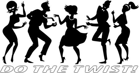 Ilustración de Black vector silhouettes of people dressed in vintage clothes, dancing the Twist, each figure on a separate layer, no white objects  - Imagen libre de derechos