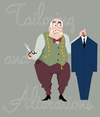 Illustration pour Cartoon tailor with scissors, measuring tape and pins in his mouth holding a suit on a hanger, vector cartoon - image libre de droit