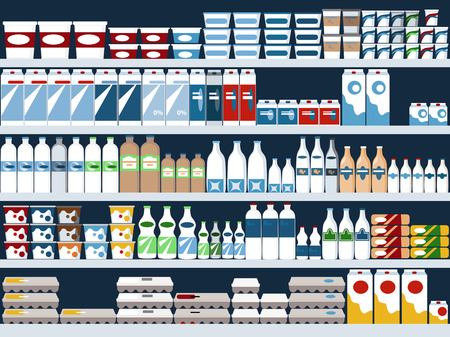 Illustration pour Grocery store shelves with dairy products display, vector background, no transparencies - image libre de droit