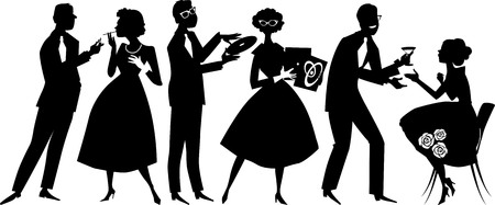 Illustration for Vector silhouette of people dressed in 1950s fashion at the party, socializing, EPS 8, no white objects, black only - Royalty Free Image