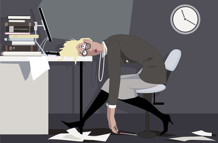 Illustrazione per Exhausted woman sitting in the office late at night, putting her head on the desk, EPS 8 vector illustration - Immagini Royalty Free