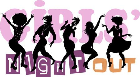 Ilustración de Girls' Night Out, EPS 8 vector illustration with black silhouettes of five dancing women, no transparencies - Imagen libre de derechos