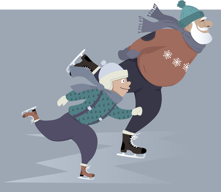 Illustration for Little boy ice skating with his grandfather - Royalty Free Image