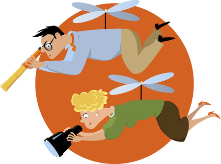 Illustration pour Overprotective helicopter parents hovering with a telescope and a binoculars, EPS 8 vector illustration - image libre de droit