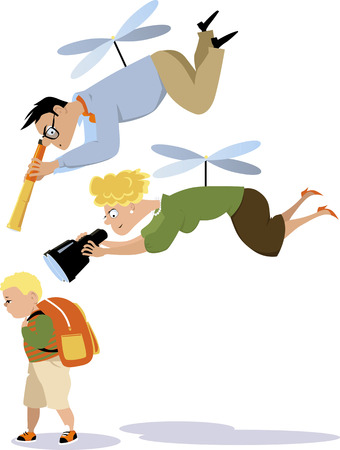 Illustration pour Helicopter parents hovering over a child with a telescope and a binoculars - image libre de droit