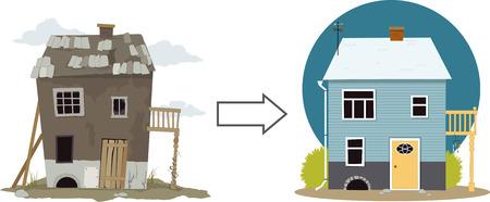 Ilustración de Rundown derelict shack turning into a cute cottage - Imagen libre de derechos