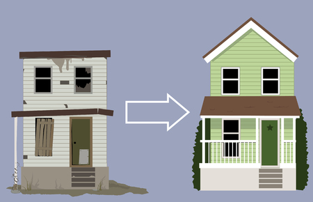 Illustration pour Old, rundown house turned into a nice new home, EPS 8 vector illustration - image libre de droit