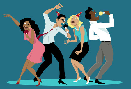 Ilustración de Diverse group of friends singing karaoke at a party,  vector cartoon, no transparencies - Imagen libre de derechos