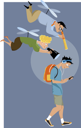 Illustration pour Helicopter parents hovering over their teenage son with a telescope and a binoculars, EPS 8 vector illustration - image libre de droit