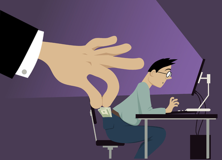 Illustration for A huge hand attempting to steal money from a man's pocket, EPS 8 vector illustration, notransparencies - Royalty Free Image