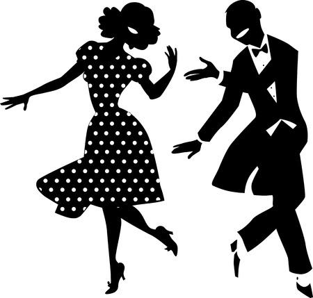 Ilustración de Black vector silhouette of a dancing couple in vintage apparel, no white objects, EPS 8 - Imagen libre de derechos