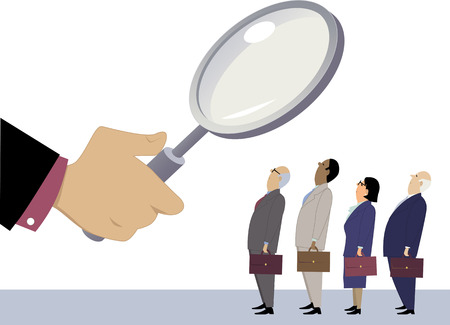 Illustration pour Business people standing in line under a magnifying glass, as a metaphor for employee performance evaluation, EPS 8 vector illustration, no transparencies - image libre de droit