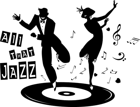 Illustration for Black vector silhouette of a couple dressed in 1920s fashion dancing the Charleston on a record, no white objects - Royalty Free Image