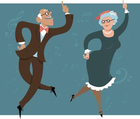 Illustration for Senior couple dancing swing or Big Apple - Royalty Free Image