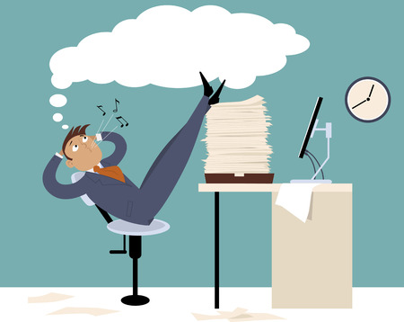 Illustrazione per Procrastinating man sitting in the office with his legs up on a pile of papers, whistling and daydreaming - Immagini Royalty Free