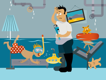 Illustrazione per Kid snorkeling in a flooded room, his father looking at the leaking plumbing - Immagini Royalty Free