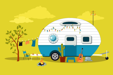 Illustration pour Cartoon travelling scene with a vintage camper, a fire pit, camping table and laundry line - image libre de droit