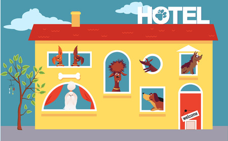 Ilustración de Cartoon hotel building occupied by cute dogs - Imagen libre de derechos
