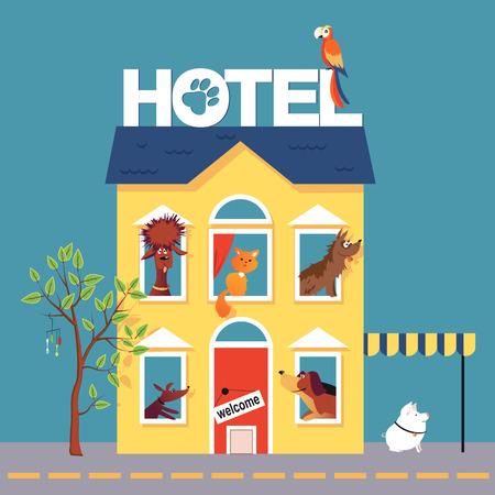 Ilustración de Hotel for pets occupied by dogs, a cat, a parrot and a pig - Imagen libre de derechos