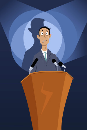 Illustration pour Man standing on a podium under spotlights, paralyzed by speech anxiety, EPS 8 vector illustration, no transparencies - image libre de droit