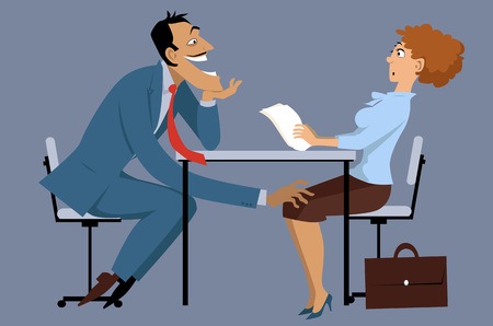 Illustration pour Sleazy businessman harassing a shocked female coworker, EPS8 vector illustration, no transparencies - image libre de droit