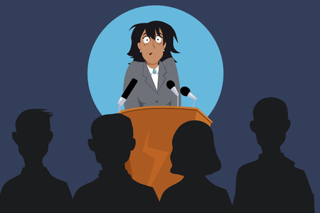 Illustration pour Terrified female speaker on a stage in front of the audience, EPS 8 vector illustration, no transparencies - image libre de droit