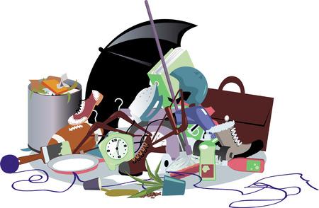 Illustration pour Pile of household trash, EPS 8 vector illustration, no transparencies - image libre de droit