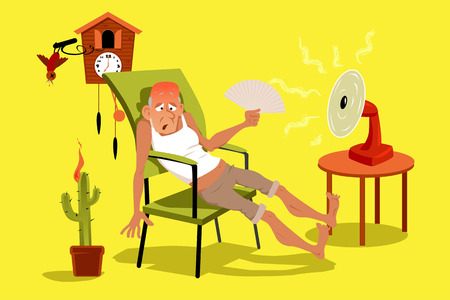 Illustration pour Mature man sitting in his house in a very hot summer day with a fan, EPS 8 vector illustration, no transparencies - image libre de droit
