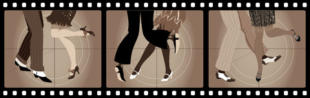 Illustration for Legs of people in 1920s clothes dancing the Charleston in old movie picture frames - Royalty Free Image