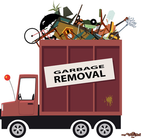 Illustration pour Cartoon waste collection truck filled with garbage - image libre de droit