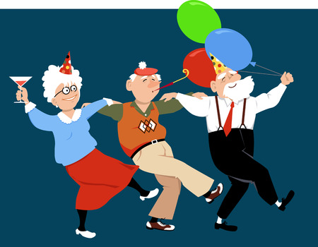 Illustration for Three happy seniors in holidays hats and with balloons dancing sirtaki or Zorba dance, vector illustration, no transparencies - Royalty Free Image